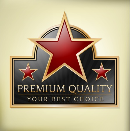quality stamp: Premium quality shiny label with stars