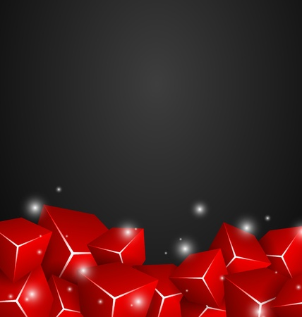 Red Cubes on dark background Vector