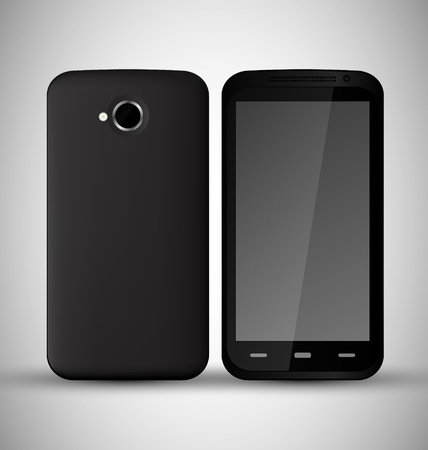 Common Black Smart Phone front and back view Stock Vector - 13098696