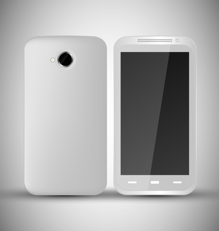 Common White Smart Phone front and back view Stock Vector - 13098693