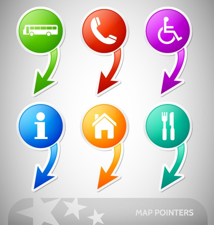 Customizable colorful pointers with map symbols Vector