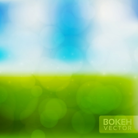Nature Blur Background with sky and field Vector