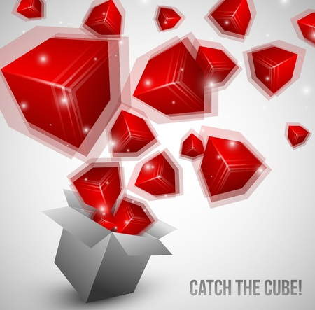 Red Cubes fly from box very fast Vector