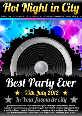 Disco Theme with speaker and with space for your text Vector