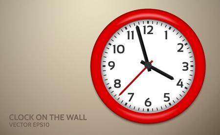object with face: Red Clocks on brown wall