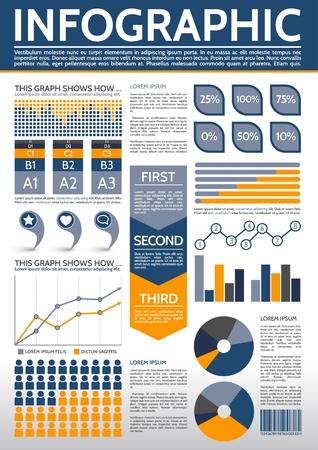 graphics: Gemeenschappelijke Infographic Sjabloon met grafieken