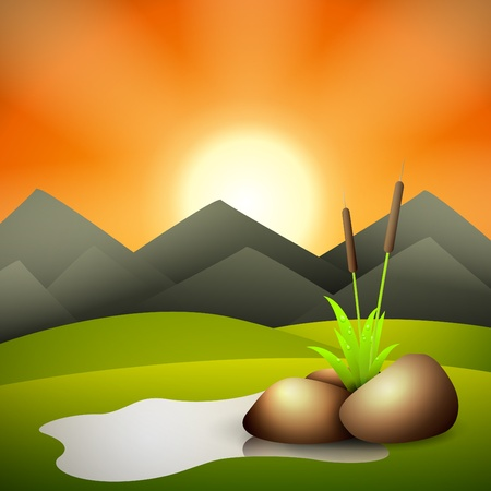 Sunset and pond with stones and grass Vector