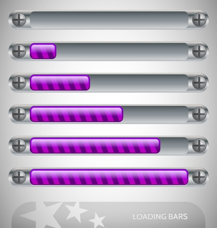 Purple - steel Loading Bars with stripes Stock Vector - 13582753