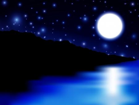 Mooie Moon over zee en het eiland Vector Illustratie