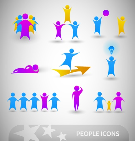 gente: La gente iconos conjunto - puprle, amarillo, azul Vectores