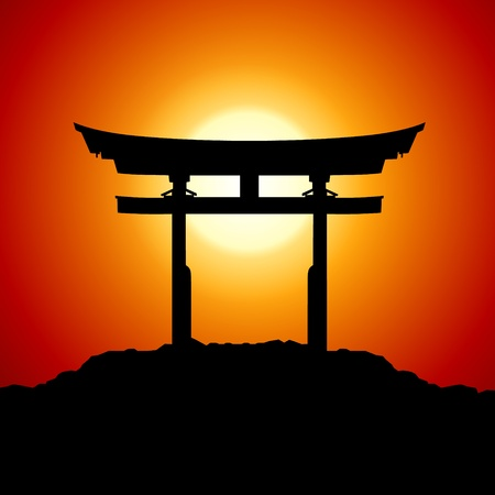 Romantic Sunset with japan gate Vector