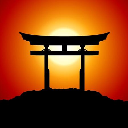 tempels: Romantische Zonsondergang met japan poort