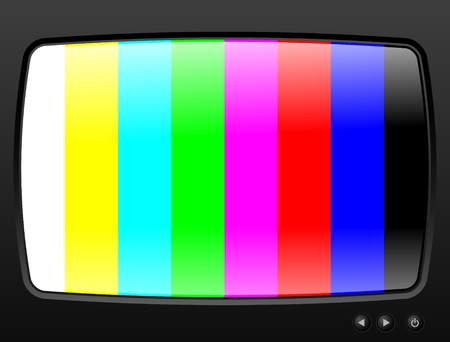 Television with test image closeup Vector