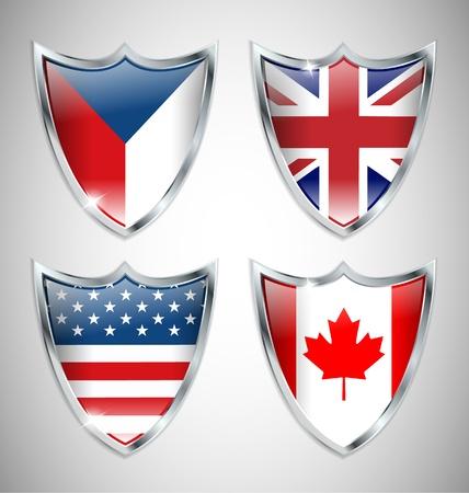 czech flag: Set di bandiere Shield 01 Vettoriali