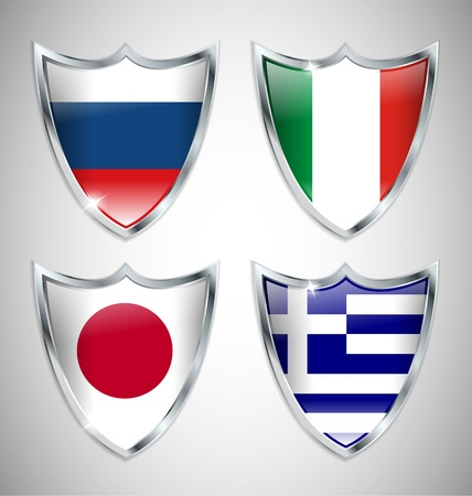 Set of Shield Flags 02 Stock Vector - 13582768