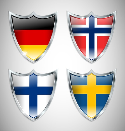 Set of Shield Flags 02 Vector