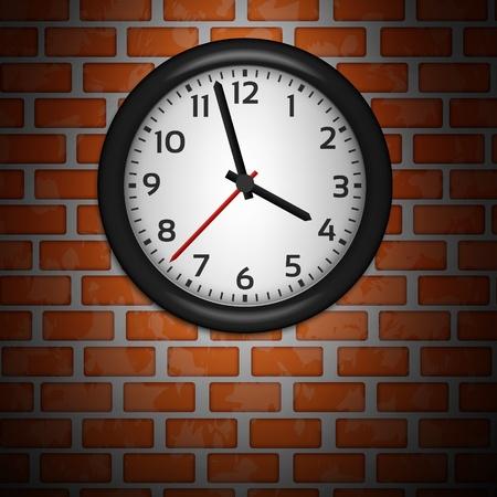 Black Clocks on brick wall Stock Vector - 13582803