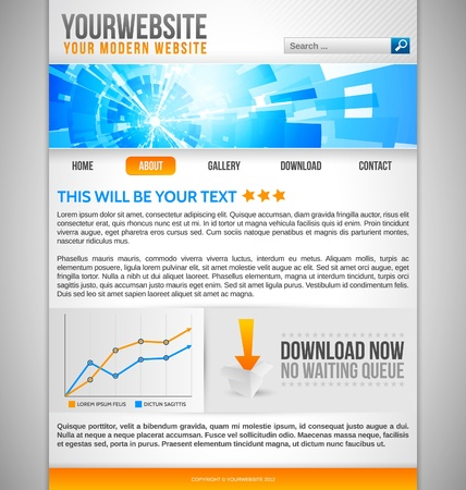 Modern Website Template with blue abstract banner Stock Vector - 13582791