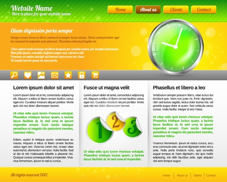 Modern and Fresh Green and yellow Website Template Stock Vector - 13582801