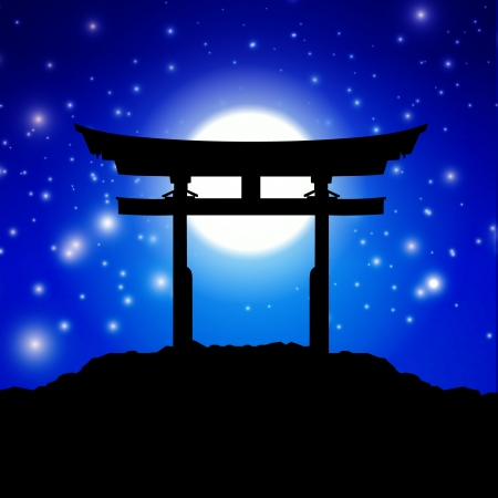 moon gate: Japan gate in midnight with moon Illustration