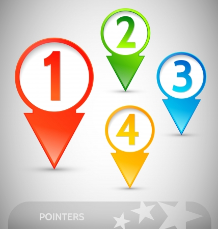 site map: Customizable colorful pointers with numbers