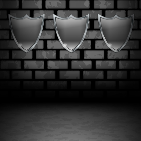 Empty Shields on dirty brick wall Vector