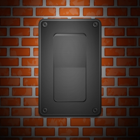 Gray Switch on brick Wall Vector