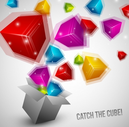Colorful Cubes fly from box very fast Illustration