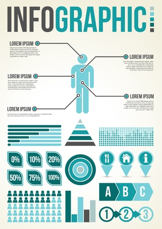 Common Infographic Template with graphs Vector