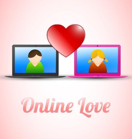 Online love concept with men and women symbol Stock Vector - 13991549