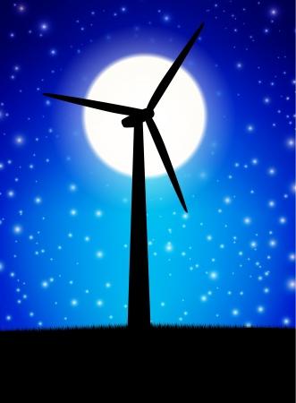 windfarm: Impianto di Windmill fronte di luna nella notte