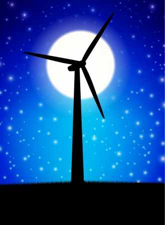 windpower: Windmill plant in front of moon in night
