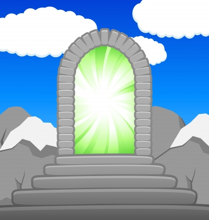 portal: Magic Portal from stones in mountains Illustration