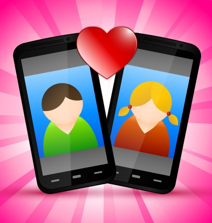 woman on cell phone: smartphone love with men and women symbol
