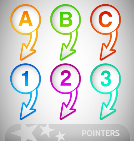 Customizable colorful pointers with numbers nad letters Vector
