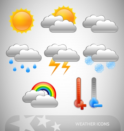 set of eight meteorology symbols Stock Vector - 13991528