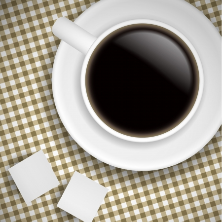 morning rituals: Realistic Cup of coffee on brown tablecloth