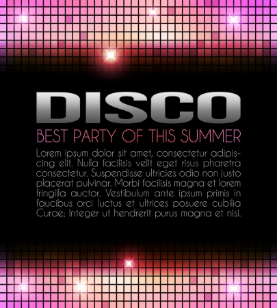 disco party: Disco Party Design yellow and pink Illustration