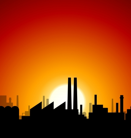silhouette industrial factory: Industrial sunset with factory silhouette