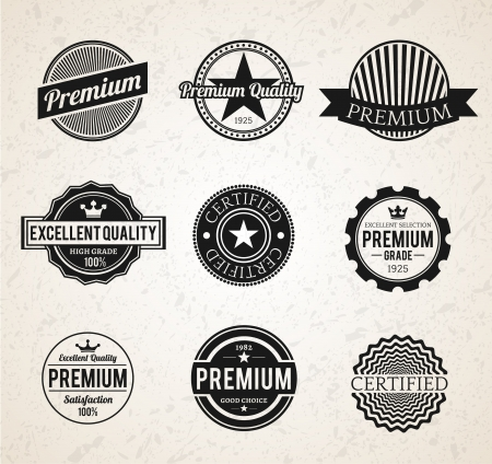 Set of Black Vintage Premium labels Vector