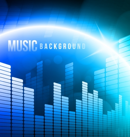 Abstract music background with bright light Vector