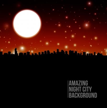 moon  metropolis: Full moon above city silhouette
