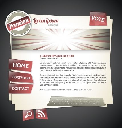 Retro Website template brown and red Vector