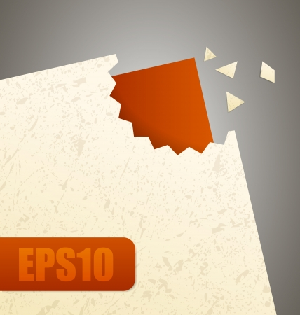 Paper with cut out pieces with another red paper under all Vector
