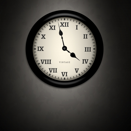 roman numerals: Black clock on black dirty wall