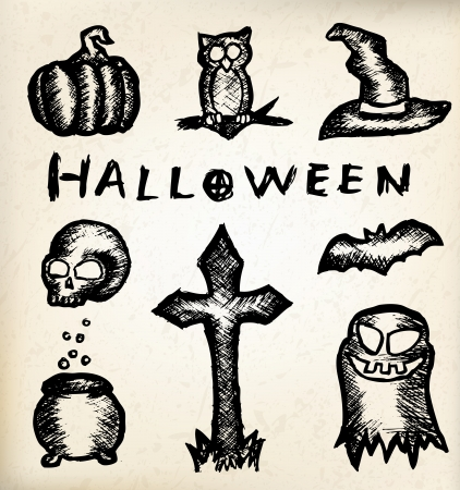 Hand draw halloween icons on vitntage paper Vector