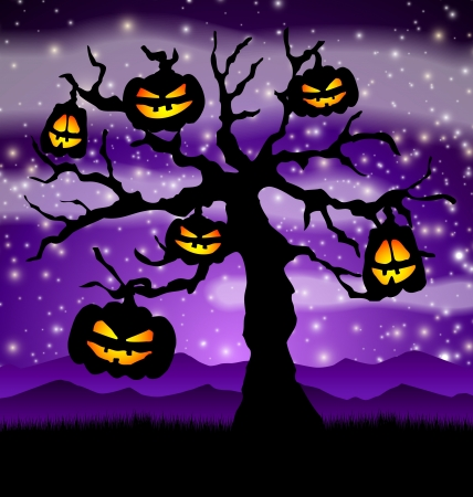 Halloween tree with pumpkins hanged on it Stock Vector - 15528931