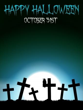 Halloween theme with blue moon on graveyard Illustration