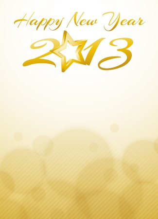 gold Happy new year 2013 card Vector