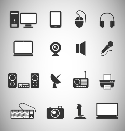 printer drawing: set of 16 Technology icons
